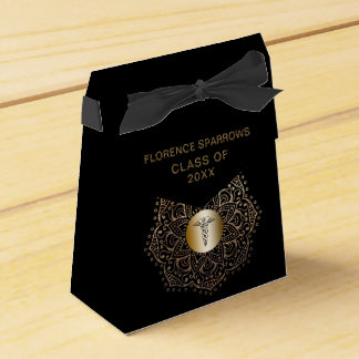 Black Gold Nurse Graduation Caduceus Favor Box