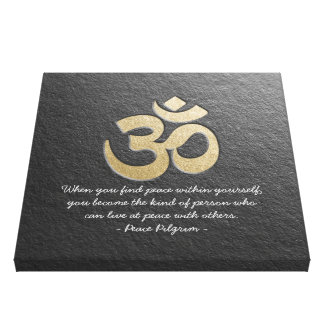 Black & Gold OM Symbol YOGA Meditation Instructor Canvas Print