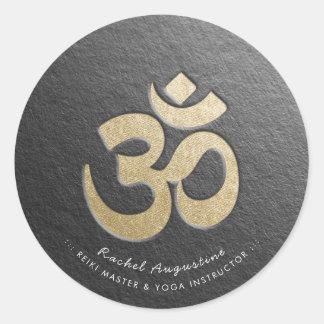 Black & Gold OM Symbol YOGA Meditation Instructor Classic Round Sticker