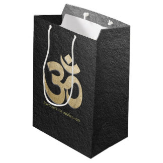 Black & Gold OM Symbol YOGA Meditation Instructor Medium Gift Bag
