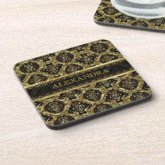 Black & Gold Ornate Baroque Design-Monogram Coaster