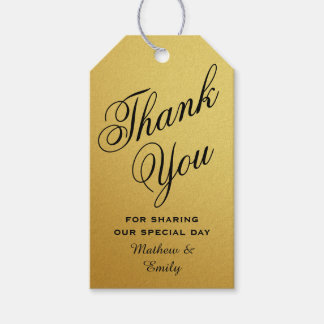 Black Gold Personalized Thank You Wedding Favor Gift Tags
