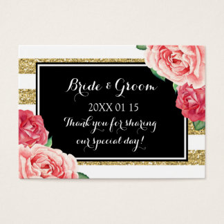 Black Gold Pink Floral Wedding Favor Tags