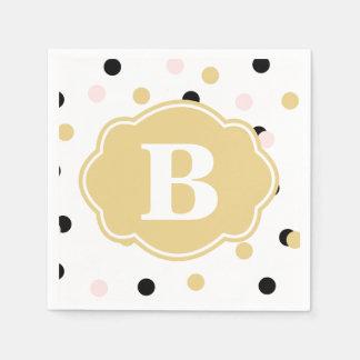 Black Gold Pink Polka Dot Monogram Napkins Disposable Napkins