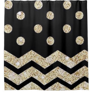 Black Gold Polka Dot And Chevron Shower Curtain