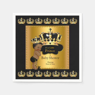 Black Gold Prince Crown Baby Shower Ethnic Paper Napkin