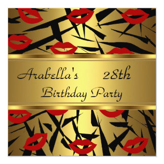 Black Gold Red Lips Invite Birthday Party
