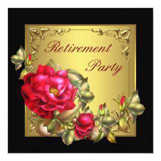 """Black Gold Red Rose Womans Retirement Party 5.25"""" Square Invitation Card"""