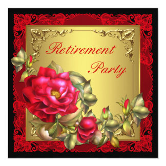 Black Gold Red Rose Womans Retirement Party Card