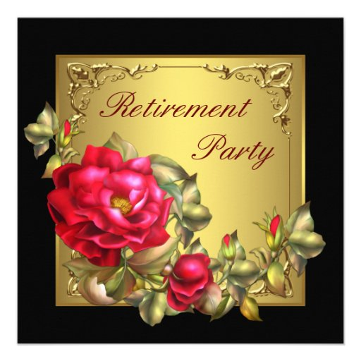 Black Gold Red Rose Womans Retirement Party Custom Announcements