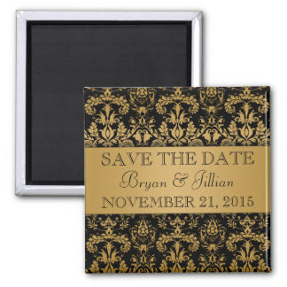 Black & Gold Regal Damask Flourish Save the Date Square Magnet
