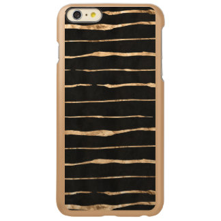 Black & Gold-rose Abstract Stripes Pattern