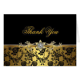 Black & gold Rose Thank You Card Card