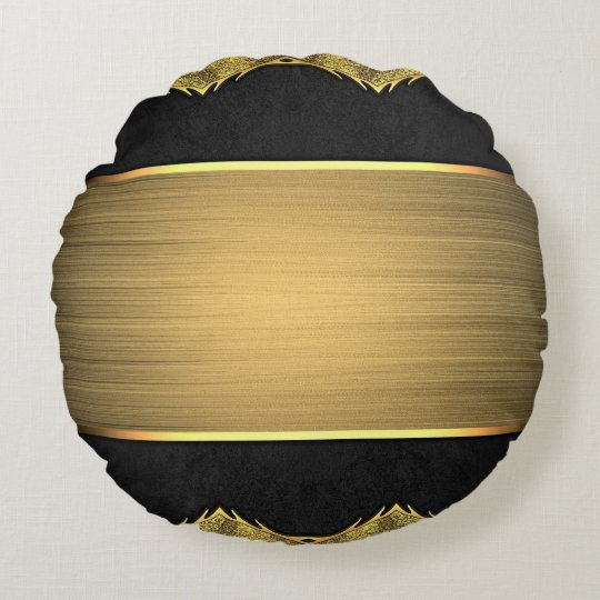 Black & gold round pillow