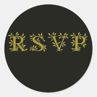 BLACK GOLD RSVP CLASSIC ROUND STICKER