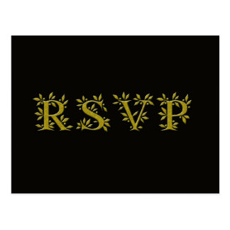 BLACK GOLD RSVP Gold Leaf  postcard