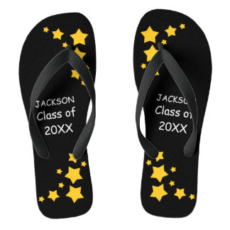 Black & Gold Senior Class Flip Flops