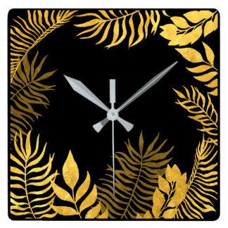 Black Gold Sepia  Palm Tree Botanical Lux Square Wall Clock
