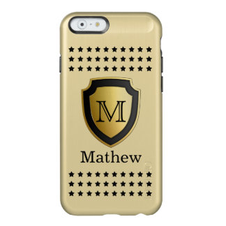 Black Gold Shield Monogram Name Star Pattern Manly Incipio Feather® Shine iPhone 6 Case