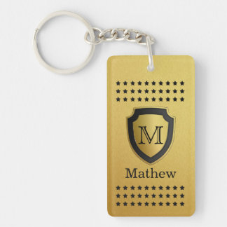 Black Gold Shield Monogram Name Star Pattern Manly Keychain