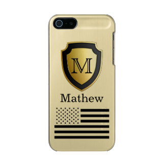 Black Gold Shield USA Flag Monogram Name Manly Incipio Feather® Shine iPhone 5 Case