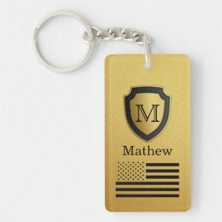 Black Gold Shield USA Flag Monogram Name Manly Keychain