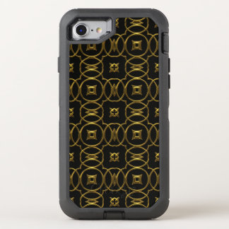 Black Gold Shiny Geometric Pattern Elegant OtterBox Defender iPhone 7 Case