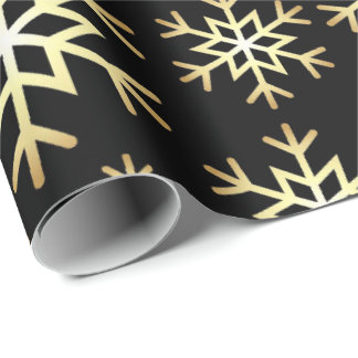 Black gold snowflake pattern party wrap wrapping paper