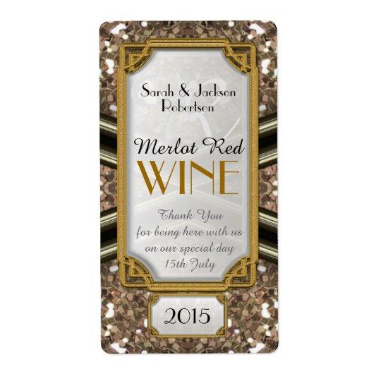 Black Gold Sparkler Wine Bottle Labels