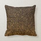 Black gold sparkly glitter pillow