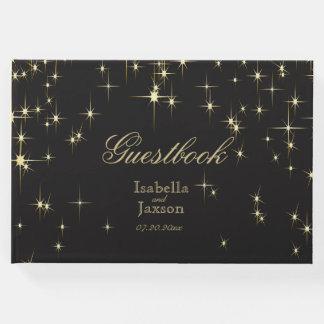Black & Gold Star Lights Guestbook