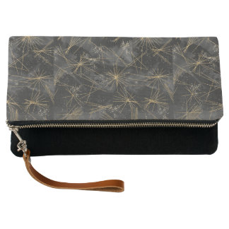 Black Gold  Starry Night Abstract Fold-over Clutch