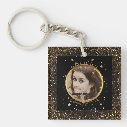 Black Gold Stars Graduation | Your Name Class of Double-Sided Square Acrylic Keychain