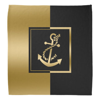 Black & Gold Stripe Nautical Gold Boat Anchor Kerchief