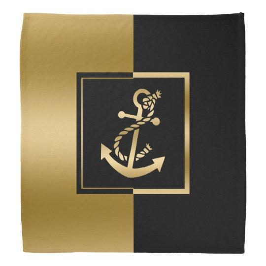 Black & Gold Stripe Nautical Gold Boat Anchor Kerchief
