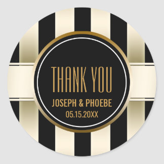 Black Gold Striped | Chic Wedding Favor Thank You Round Sticker