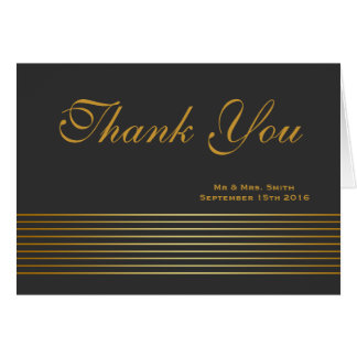 Black Gold Striped Sleek Thank You Card