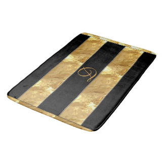 Black Gold Stripes Bath Mat