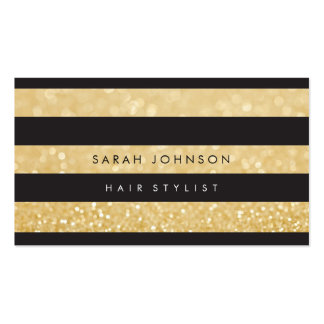 Black Gold Stripes Hair Stylist Appointment Cards Business Card Template