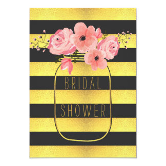 Black Gold Stripes Mason Jar Bridal Shower Card