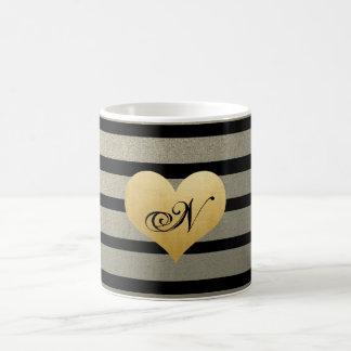 Black Gold Stripes Monogram Faux Gold Foil Heart Coffee Mug