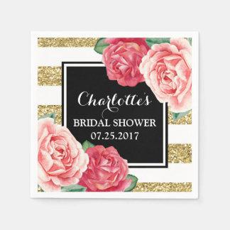 Black Gold Stripes Pink Flowers Bridal Shower Paper Napkins
