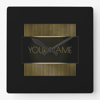 Black Gold Stripes Urban Minimal Name Geometry Lux Square Wall Clock