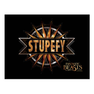 Black & Gold Stupefy Spell Graphic Postcard