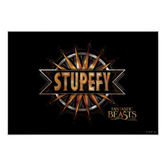 Black & Gold Stupefy Spell Graphic Poster