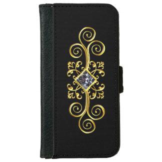 Black Gold Swirl Diamond Design iPhone Wallet Case
