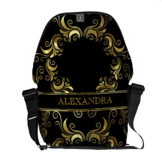 Black & Gold Swirls Design- Monogram Commuter Bags