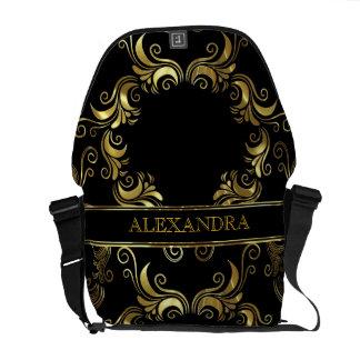 Black & Gold Swirls Design- Monogram Courier Bag