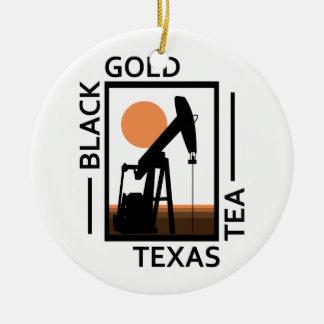Black Gold Texas Tea Round Ceramic Ornament