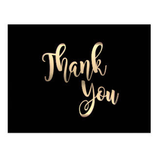 Black Gold Thank You Metal Glitter Clean Postcard